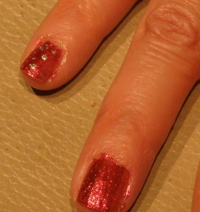 Pinky finger red snowflake design