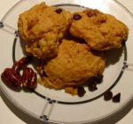 Pumpkin Scones with pralines and chocolate chips