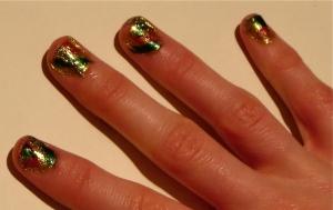 green leafy nail design