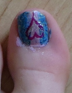 pink and blue heart pedi