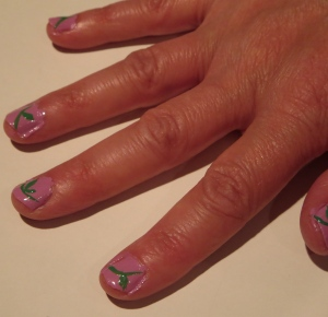 pink nails with leaves and vines
