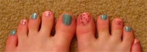 speckled pink/ striped turquoise pedi