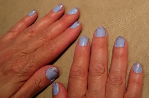 light blue bails with sparkle fade pink