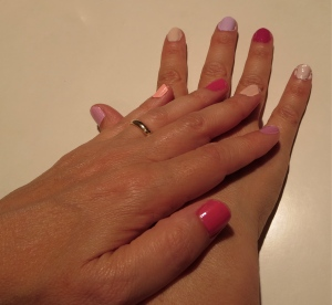 different colors of pink nail design