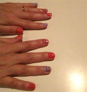 orange/blue stripes nails