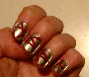 gray nails 3d pink stripes