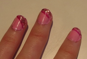 pink nails with sparkly pink tips