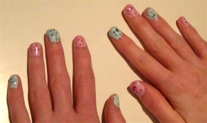 speckled blue and pink nails