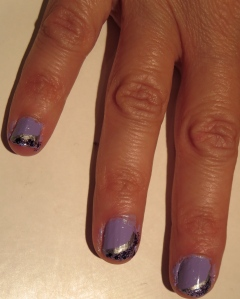 silver and purple sparkle tips nails