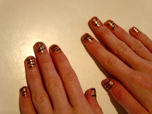 tiger mani with copper penny sparkles