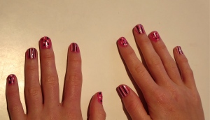 pink stripe and dots nails