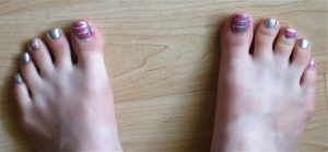 gray, pink, green, white plaid toenails