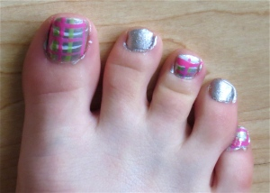 green, pink, gray, white plaid pedicure