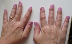 mom nails pink bling