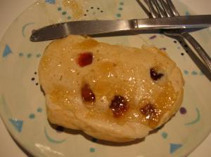 Evil Face Cranberry Pancake with pear jam