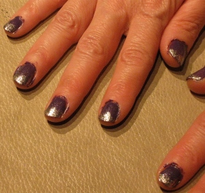 dark purple sparkle fade nails