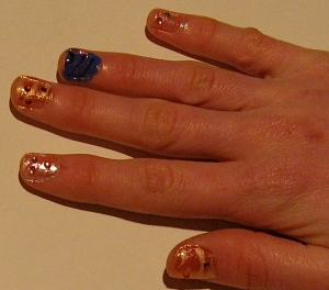 jeweled tiger nail design
