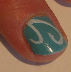 turquoise swirls nail design