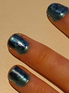 turquoise and blue marble nails
