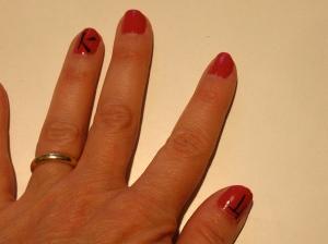 Dim Sum Plum Chinese symbols nail design