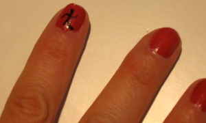 Dim Sum Plum nail with Chinese symbol
