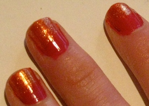 hot pink/orange fish inspired nail design