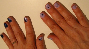 blue and purple splatter nail design