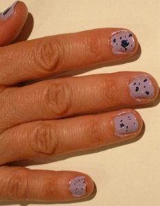 right hand purple and blue paint splatter nails