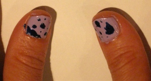 thumbnails: paint splatter nail design purple and blue