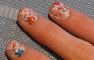 colorful paint splatter nails