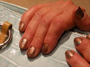 leopard print turquoise and bronze nails