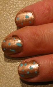 leopard print nails bronze/turquoise