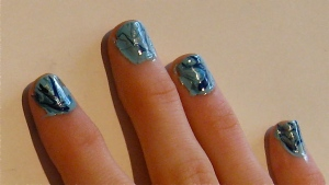 elegant blue and green marble nails