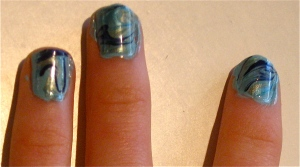 elegant marble blue/green nail art