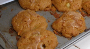 carrot cake scones with vanilla glaze, coconut and pineapple