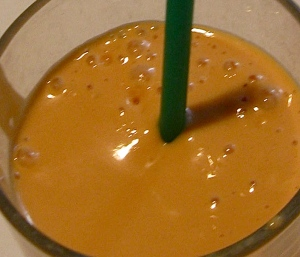 carrot white chocolate peanut butter peach smoothie