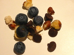 hazelnuts, blueberries, and chocolate chips