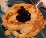 strawberry cream cheese filled pancake with blueberry jam