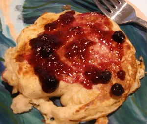 blueberry jam on strawberry cream cheese filled pancake