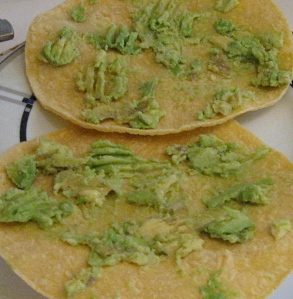 avocado on tortillas