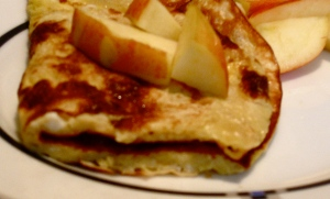 single serve crepe with apple pumpkin butter
