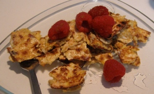 matzah brei with raspberries