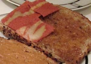 maple veggie bacon peanut butter 'wich