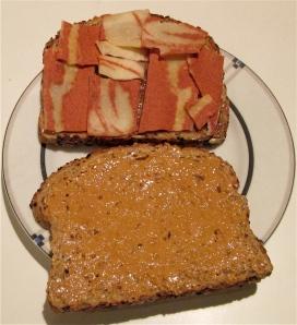 veggie bacon maple peanut butter sandwich