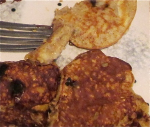 pancakes made with steel-cut oats, banana, chocolate, peanut butter