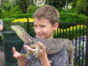 Sam with monitor lizard in Las Vegas