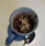 breakfast mug cake chocolate banana with walnut and coconut