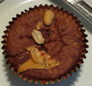 chocolate peanut butter nutella oatmeal muffin