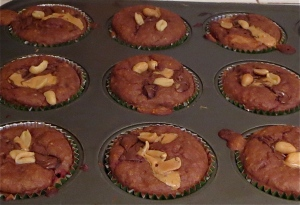 chocolate peanut butter nutella oatmeal strawberry muffins
