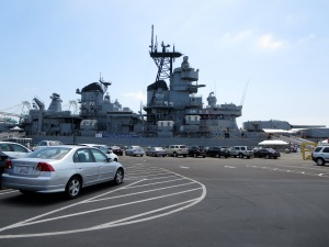 battleship iowa from the parking lot